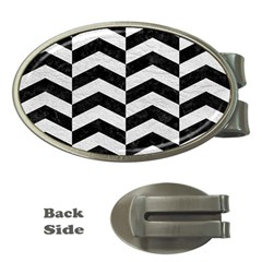 Chevron2 Black Marble & White Leather Money Clips (oval)