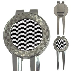 Chevron2 Black Marble & White Leather 3 In 1 Golf Divots