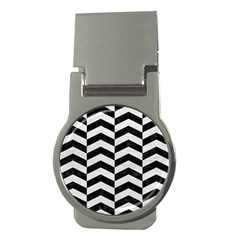 Chevron2 Black Marble & White Leather Money Clips (round)