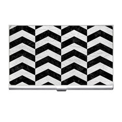 Chevron2 Black Marble & White Leather Business Card Holders