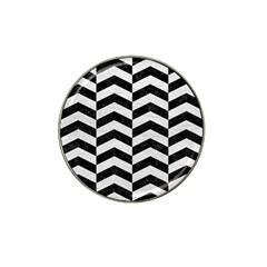 Chevron2 Black Marble & White Leather Hat Clip Ball Marker (10 Pack)