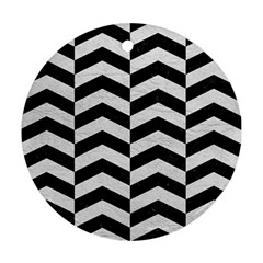 Chevron2 Black Marble & White Leather Round Ornament (two Sides)