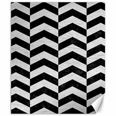 Chevron2 Black Marble & White Leather Canvas 8  X 10