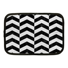 Chevron2 Black Marble & White Leather Netbook Case (medium)