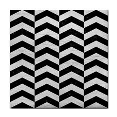 Chevron2 Black Marble & White Leather Face Towel