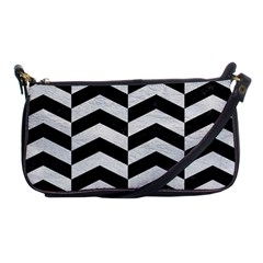 Chevron2 Black Marble & White Leather Shoulder Clutch Bags