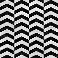Chevron2 Black Marble & White Leather Magic Photo Cubes