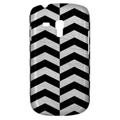 Chevron2 Black Marble & White Leather Galaxy S3 Mini