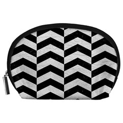 Chevron2 Black Marble & White Leather Accessory Pouches (large)
