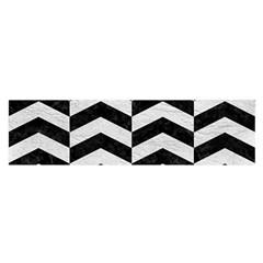Chevron2 Black Marble & White Leather Satin Scarf (oblong)