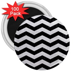 Chevron3 Black Marble & White Leather 3  Magnets (100 Pack)