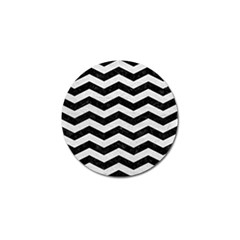 Chevron3 Black Marble & White Leather Golf Ball Marker (10 Pack)