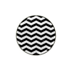 Chevron3 Black Marble & White Leather Hat Clip Ball Marker (10 Pack)