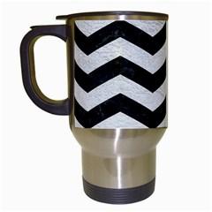 Chevron3 Black Marble & White Leather Travel Mugs (white)