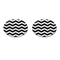 Chevron3 Black Marble & White Leather Cufflinks (oval)