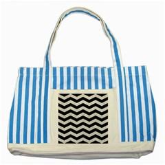 Chevron3 Black Marble & White Leather Striped Blue Tote Bag