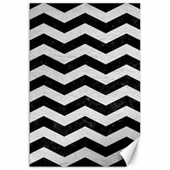 Chevron3 Black Marble & White Leather Canvas 20  X 30