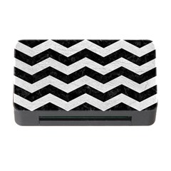 Chevron3 Black Marble & White Leather Memory Card Reader With Cf