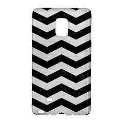 Chevron3 Black Marble & White Leather Galaxy Note Edge