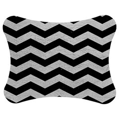 Chevron3 Black Marble & White Leather Jigsaw Puzzle Photo Stand (bow)