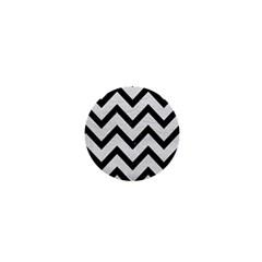 Chevron9 Black Marble & White Leather 1  Mini Buttons