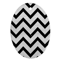 Chevron9 Black Marble & White Leather Ornament (oval)