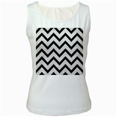 Chevron9 Black Marble & White Leather Women s White Tank Top