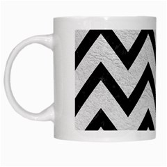 Chevron9 Black Marble & White Leather White Mugs