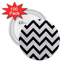 Chevron9 Black Marble & White Leather 2 25  Buttons (100 Pack)