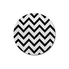 Chevron9 Black Marble & White Leather Magnet 3  (round)