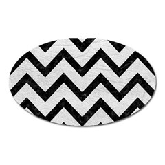 Chevron9 Black Marble & White Leather Oval Magnet