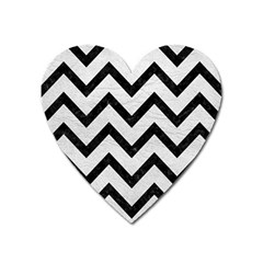 Chevron9 Black Marble & White Leather Heart Magnet
