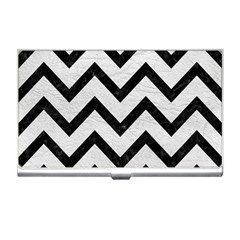 Chevron9 Black Marble & White Leather Business Card Holders