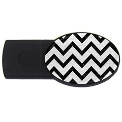 Chevron9 Black Marble & White Leather Usb Flash Drive Oval (2 Gb)