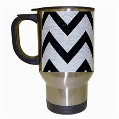 Chevron9 Black Marble & White Leather Travel Mugs (white)