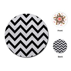 Chevron9 Black Marble & White Leather Playing Cards (round)