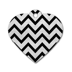 Chevron9 Black Marble & White Leather Dog Tag Heart (one Side)
