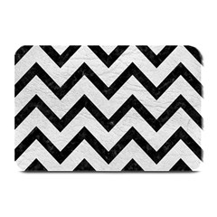 Chevron9 Black Marble & White Leather Plate Mats