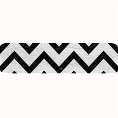 Chevron9 Black Marble & White Leather Large Bar Mats