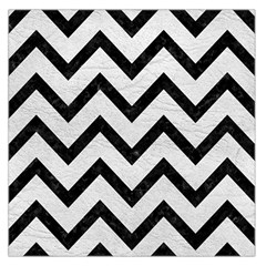 Chevron9 Black Marble & White Leather Large Satin Scarf (square)