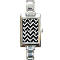 Chevron9 Black Marble & White Leather (r) Rectangle Italian Charm Watch