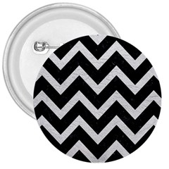 Chevron9 Black Marble & White Leather (r) 3  Buttons