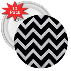 Chevron9 Black Marble & White Leather (r) 3  Buttons (10 Pack)