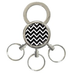 Chevron9 Black Marble & White Leather (r) 3 Ring Key Chains