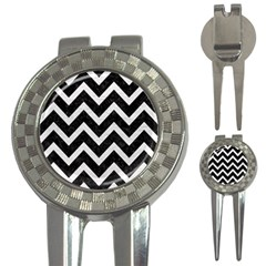 Chevron9 Black Marble & White Leather (r) 3 In 1 Golf Divots