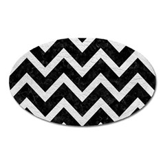 Chevron9 Black Marble & White Leather (r) Oval Magnet