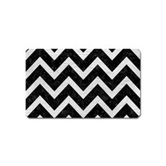 Chevron9 Black Marble & White Leather (r) Magnet (name Card)