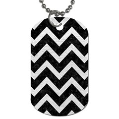 Chevron9 Black Marble & White Leather (r) Dog Tag (one Side)
