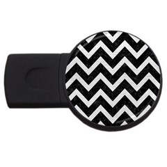 Chevron9 Black Marble & White Leather (r) Usb Flash Drive Round (2 Gb)