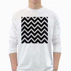 Chevron9 Black Marble & White Leather (r) White Long Sleeve T Shirts